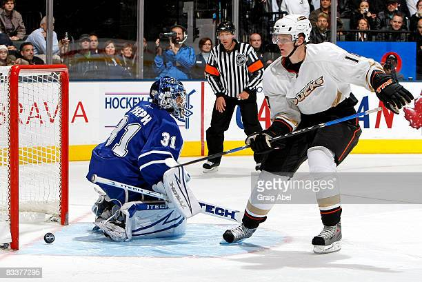 Corey Perry of the Anaheim Ducks scores on Curtis Joseph of the Toronto Maple Leafs during shoot out action October 21 2008 at the Air Canada Centre...