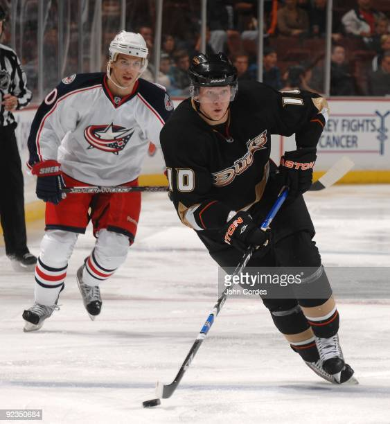 Corey Perry of the Anaheim Ducks skates during a game against the Columbus Blue Jackets on October 24 2009 at Honda Center in Anaheim California