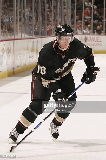 Corey Perry of the Anaheim Ducks skates on the ice against the Calgary Flames during the game on February 11 2009 at Honda Center in Anaheim...