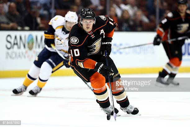 Corey Perry of the Anaheim Ducks skates with the puck during the first period of a game against the Nashville Predators at Honda Center on October 26...
