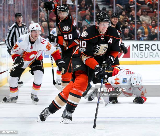 Corey Perry of the Anaheim Ducks skates with the puck during the third period of the game against the Calgary Flames at Honda Center on April 4 2017...