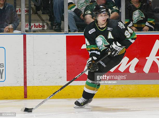 Corey Perry of the London Knights looks to make a play during the Ontario Hockey League game against the Erie Otters at John Labatt Centre on October...