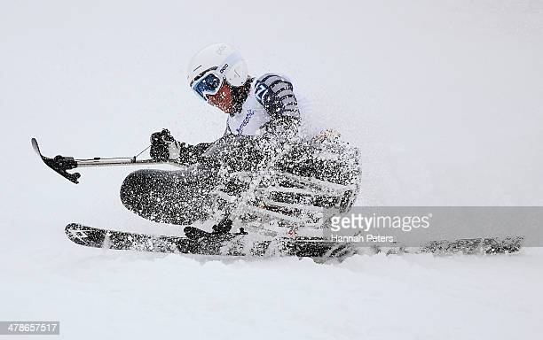 Corey Peters of New Zealand competes in the Men's Super Combined Sitting Super G on day seven of the Sochi 2014 Paralympic Winter Games at Rosa...