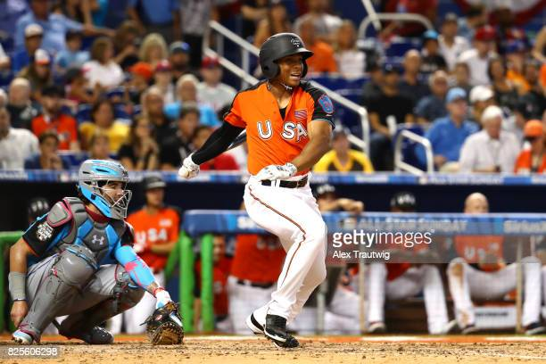 Corey Ray of Team USA bats during the SirusXM AllStar Futures Game at Marlins Park on Sunday July 9 2017 in Miami Florida