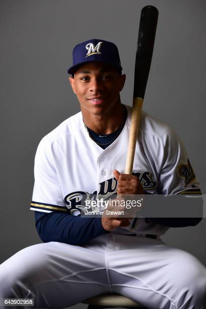 Corey Ray of the Milwaukee Brewers poses for a portrait during a MLB photo day at Maryvale Baseball Park on February 22 2017 in Maryvale Arizona