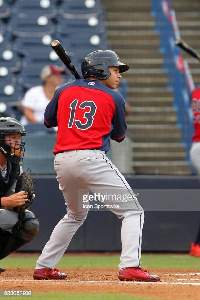 Corey Rosier of Riverdale Baptist School at bat during the East Coast Pro Showcase on August 02 at Steinbrenner Field in Tampa FL