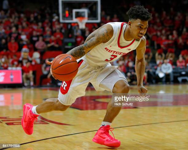 Corey Sanders of the Rutgers Scarlet Knights in action against the Minnesota Golden Gophers during an NCAA college basketball game at Rutgers...