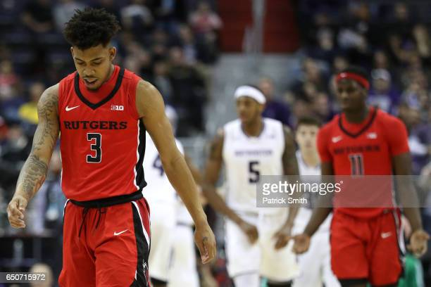 Corey Sanders of the Rutgers Scarlet Knights looks against the Northwestern Wildcats during the first half in the second round of the Big Ten...