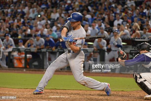 Corey Seager of the Los Angeles Dodgers grounds out in the fifth inning against the Arizona Diamondbacks at Chase Field on August 10 2017 in Phoenix...
