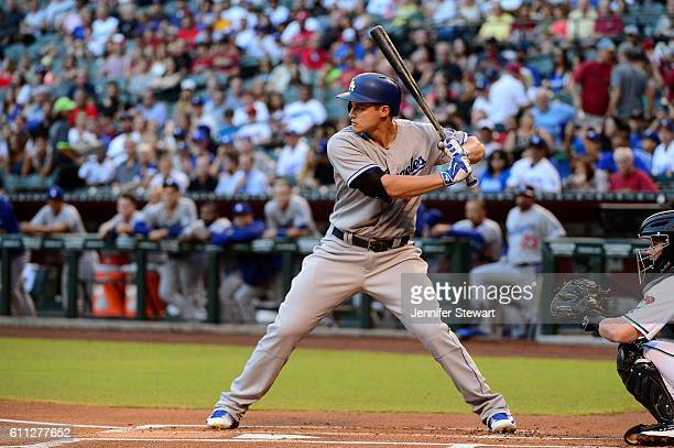 Corey Seager of the Los Angeles Dodgers stands at bat against the Arizona Diamondbacks in the first inning at Chase Field on June 14 2016 in Phoenix...