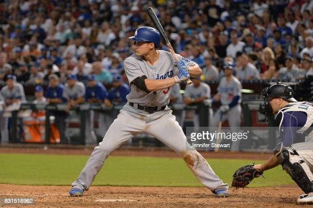 Corey Seager of the Los Angeles Dodgers stands at bat against the Arizona Diamondbacks at Chase Field on August 10 2017 in Phoenix Arizona