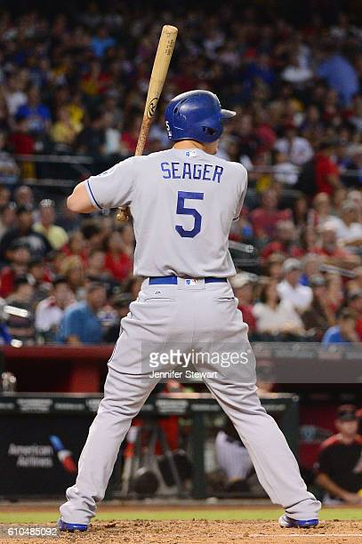 Corey Seager of the Los Angeles Dodgers stands at bat during the third inning against the Arizona Diamondbacks at Chase Field on September 17 2016 in...