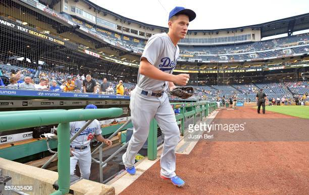 Corey Seager of the Los Angeles Dodgers takes the field before the start of the game against the Pittsburgh Pirates at PNC Park on August 22 2017 in...