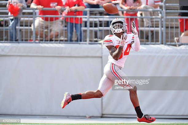 Corey Smith of the Ohio State Buckeyes Gray team pulls in a touchdown pass in the fourth quarter against the Scarlet team in the annual Ohio State...
