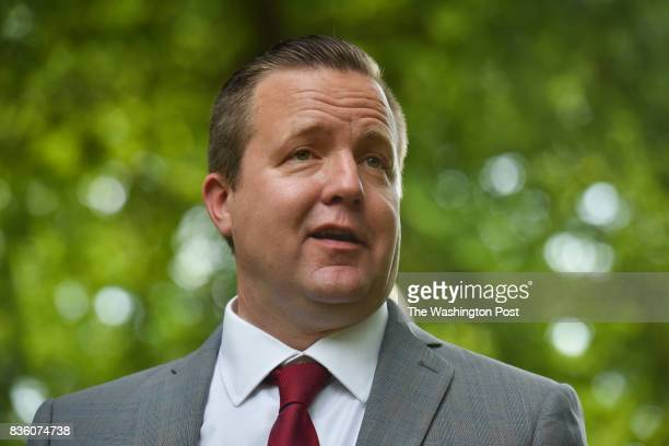Corey Stewart backed by his wife Maria makes a media announcement about his decision to challenge Senator Tim Kaine in 2018 at his home on Thursday...
