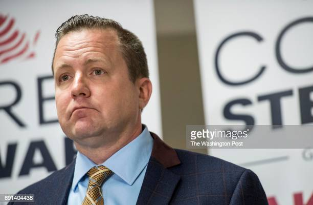 BRIDGE VA Corey Stewart Republican candidate for Virginia Governor and Chairman of the Prince William Board of Supervisors holds a press conference...