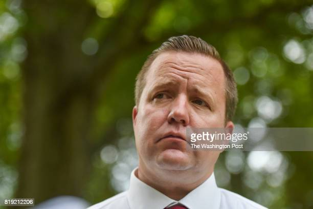 Corey Stewart talks with the media after his announcement to challenge Senator Tim Kaine in 2018 at his home on Thursday July 13 in Woodbridge VA...