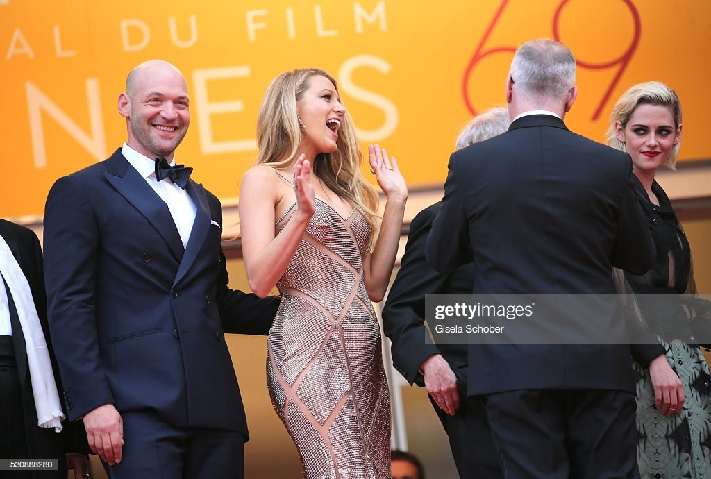 Corey Stoll, actress Blake Lively and actress Kristen Stewart attend the 'Cafe Society' premiere and the Opening Night Gala during the 69th annual Cannes Film Festival at the Palais des Festivals on May 11, 2016 in Cannes, France.