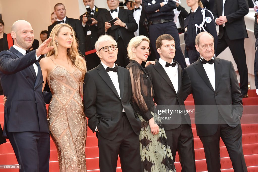 Corey Stoll, actress Blake Lively, director Woody Allen, actress Kristen Stewart and actor Jesse Eisenberg attend the screening of 'Cafe Society' at the opening gala of the annual 69th Cannes Film Festival at Palais des Festivals on May 11, 2016 in Cannes, France.