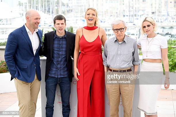 Corey Stoll Jesse Eisenberg Blake Lively director Woody Allen and Kristen Stewart attend the 'Cafe Society' Photocall during The 69th Annual Cannes...