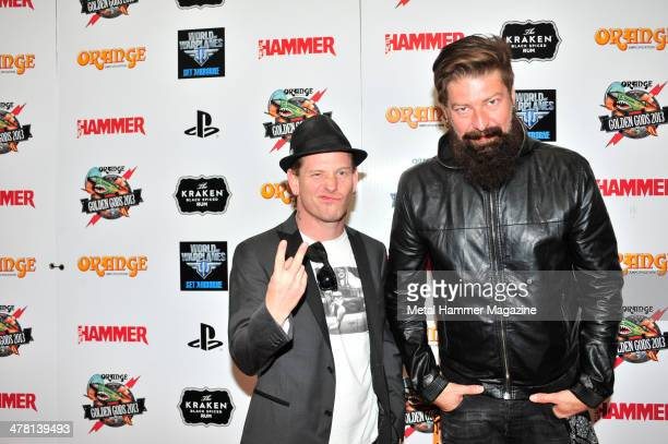Corey Taylor and Jim Root of American hard rock group Stone Sour on the red carpet at the 2013 Golden Gods Awards in the O2 Arena London on June 17...