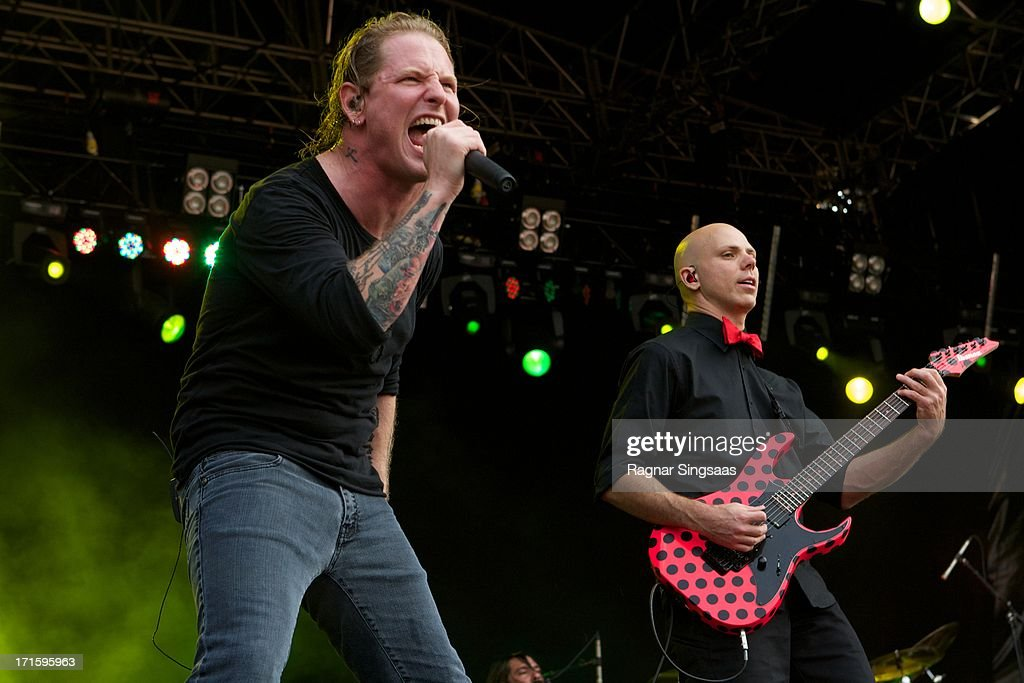 Corey Taylor and Josh Rand of Stone Sour perform on stage on Day 1 of Rock The Beach Festival on June 26, 2013 in Helsinki, Finland.