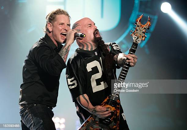 Corey Taylor and Kerry King perform on stage during the Marshall 50 Years Of Loud concert celebrating Marshall Amplifiers 50th anniversary at Wembley...