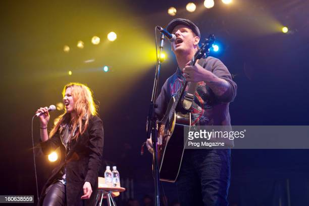 Corey Taylor and Lzzy Hale performing live on stage at Download Festival on June 8 2012