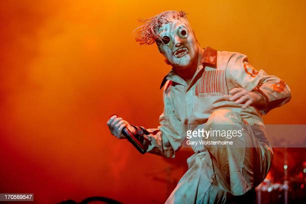 Corey Taylor of performs on stage on Day 1 of Download Festival 2013 at Donnington Park on June 14 2013 in Donnington England