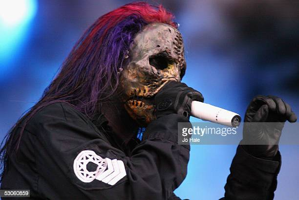 Corey Taylor of Slipknot performs on stage on at the third and final day of this year's Download Festival at Donington Park Castle Donington on June...