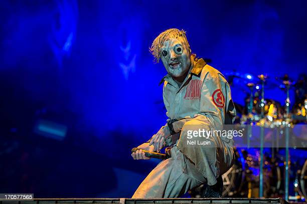 Corey Taylor of Slipknot performs on stage on Day 1 of Download Festival 2013 at Donnington Park on June 14 2013 in Donnington England