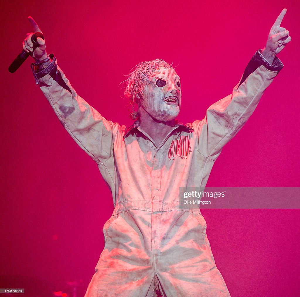 <a gi-track='captionPersonalityLinkClicked' href=/galleries/search?phrase=Corey+Taylor&family=editorial&specificpeople=2350413 ng-click='$event.stopPropagation()'>Corey Taylor</a> of Slipknot performs onstage headlining Day 1 of The Download Festival at Donnington Park on June 14, 2013 in Donnington, England.