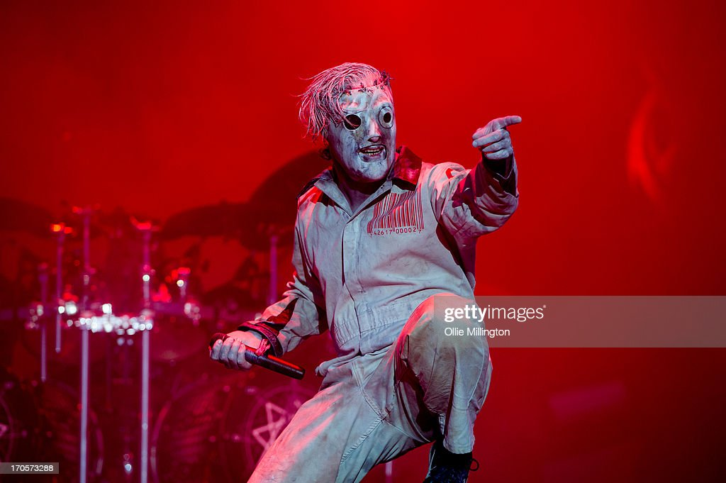 Corey Taylor of Slipknot performs onstage headlining Day 1 of The Download Festival at Donnington Park on June 14, 2013 in Donnington, England.