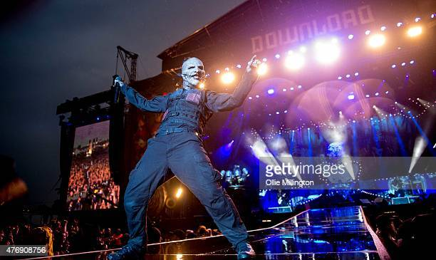 Corey Taylor of Slipknot performs onstage headlining the main stage at Download 2015 at the end of Day 1 at Donnington Park on June 12 2015 in...