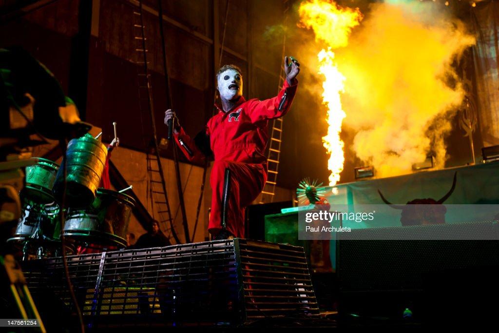 Corey Taylor of the heavy metal band Slipknot performs at the 2012 Rockstar energy drink Mayhem Festival at San Manuel Amphitheater on June 30 2012...