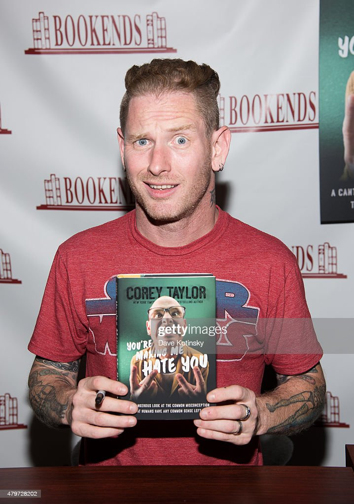 Corey Taylor signs copies of his book 'You're Making Me Hate You' at Bookends on July 6, 2015 in Ridgewood, New Jersey.