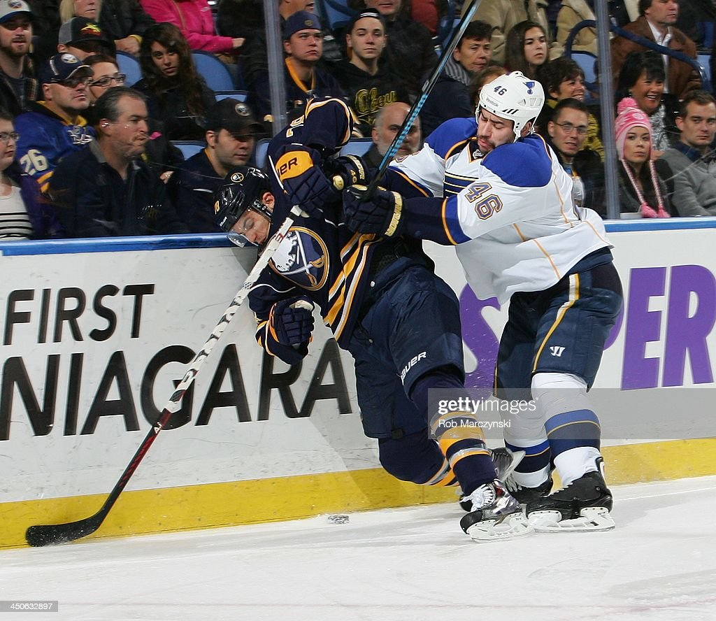 <a gi-track='captionPersonalityLinkClicked' href=/galleries/search?phrase=Corey+Tropp&family=editorial&specificpeople=5483748 ng-click='$event.stopPropagation()'>Corey Tropp</a> #78 of the Buffalo Sabres looks to control the puck while being checked into the boards by <a gi-track='captionPersonalityLinkClicked' href=/galleries/search?phrase=Roman+Polak&family=editorial&specificpeople=2109482 ng-click='$event.stopPropagation()'>Roman Polak</a> #46 of the St. Louis Blues on November 19, 2013 at the First Niagara Center in Buffalo, New York.
