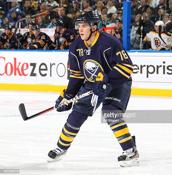 Corey Tropp of the Buffalo Sabres skates against the Boston Bruins at First Niagara Center on February 24 2012 in Buffalo New York