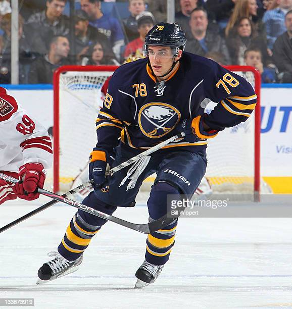 Corey Tropp of the Buffalo Sabres skates against the Phoenix Coyotes at First Niagara Center on November 19 2011 in Buffalo New York