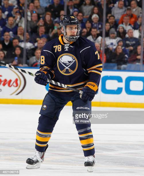 Corey Tropp of the Buffalo Sabres skates against the Toronto Maple Leafs on November 15 2013 at the First Niagara Center in Buffalo New York