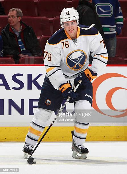 Corey Tropp of the Buffalo Sabres skates up ice with the puck during their game against the Vancouver Canucks at Rogers Arena March 3 2012 in...