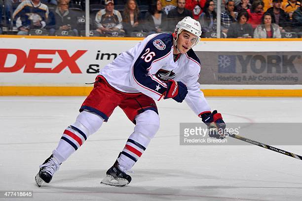 Corey Tropp of the Columbus Blue Jackets plays against the Nashville Predators at Bridgestone Arena on March 8 2014 in Nashville Tennessee