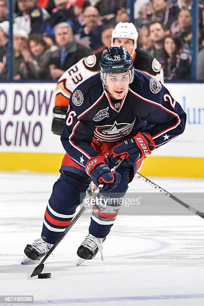 Corey Tropp of the Columbus Blue Jackets skates against the Anaheim Ducks on March 24 2015 at Nationwide Arena in Columbus Ohio