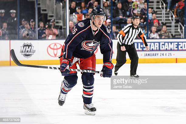 Corey Tropp of the Columbus Blue Jackets skates against the Edmonton Oilers on November 29 2013 at Nationwide Arena in Columbus Ohio