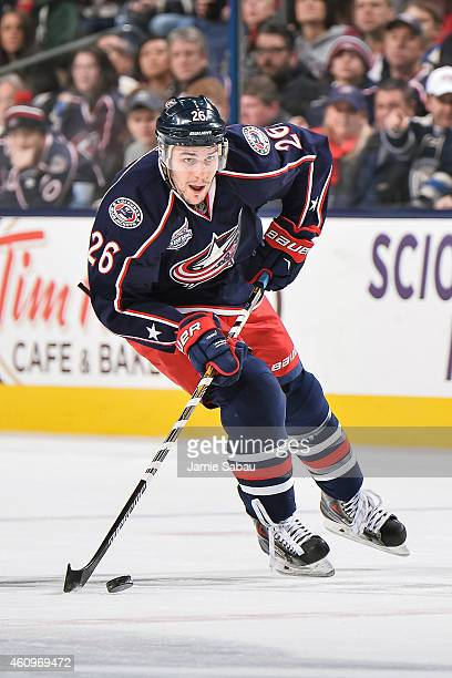 Corey Tropp of the Columbus Blue Jackets skates against the Minnesota Wild on December 31 2014 at Nationwide Arena in Columbus Ohio Columbus defeated...