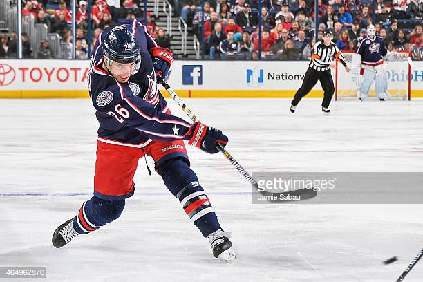 Corey Tropp of the Columbus Blue Jackets skates against the New Jersey Devils on February 28 2015 at Nationwide Arena in Columbus Ohio