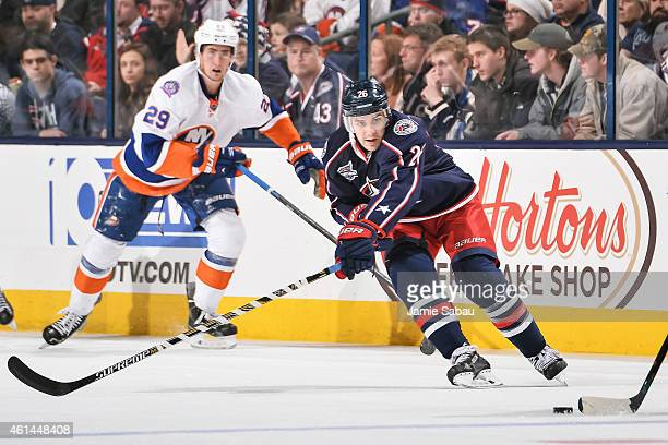 Corey Tropp of the Columbus Blue Jackets skates against the New York Islanders on January 10 2015 at Nationwide Arena in Columbus Ohio