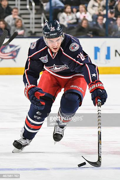 Corey Tropp of the Columbus Blue Jackets skates against the St Louis Blues on February 6 2015 at Nationwide Arena in Columbus Ohio Columbus defeated...