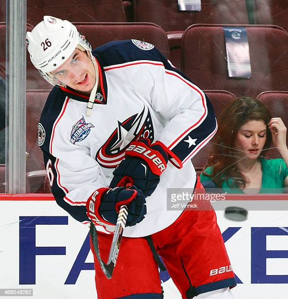 Corey Tropp of the Columbus Blue Jackets skates up ice during their NHL game against the Vancouver Canucks at Rogers Arena March 19 2015 in Vancouver...