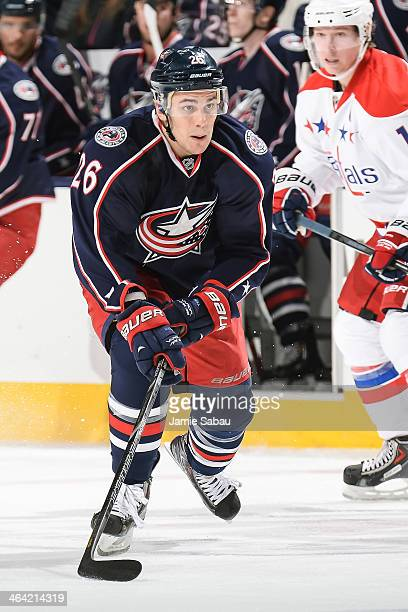Corey Tropp of the Columbus Blue Jackets skates with the puck against the Washington Capitals on January 17 2014 at Nationwide Arena in Columbus Ohio